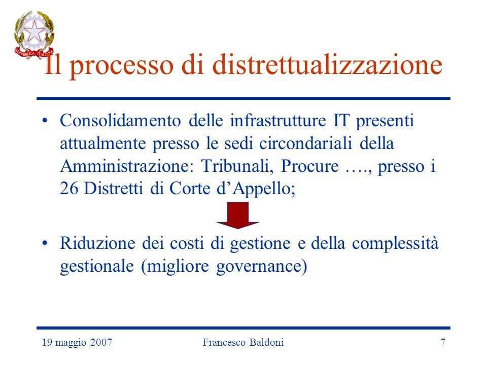 19 maggio 2007Francesco Baldoni7 Il processo di distrettualizzazione Consolidamento delle infrastrutture IT presenti attualmente presso le sedi circondariali della Amministrazione: Tribunali, Procure …., presso i 26 Distretti di Corte dAppello; Riduzione dei costi di gestione e della complessità gestionale (migliore governance)