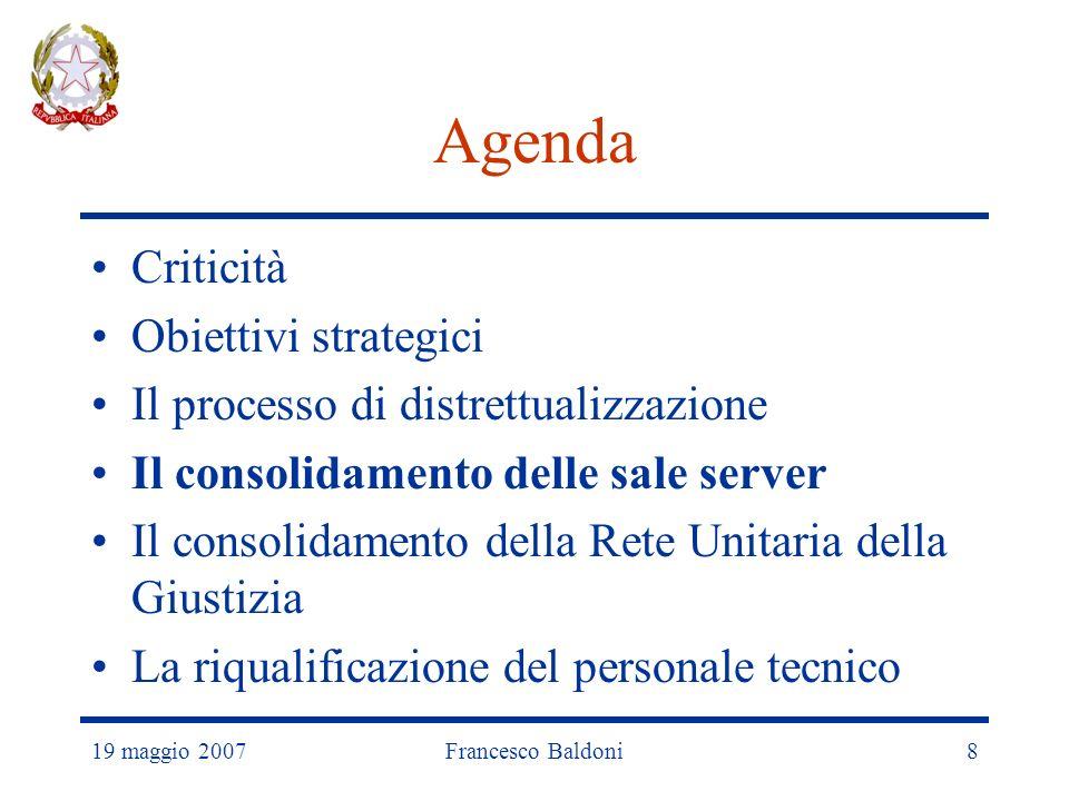 19 maggio 2007Francesco Baldoni8 Agenda Criticità Obiettivi strategici Il processo di distrettualizzazione Il consolidamento delle sale server Il consolidamento della Rete Unitaria della Giustizia La riqualificazione del personale tecnico