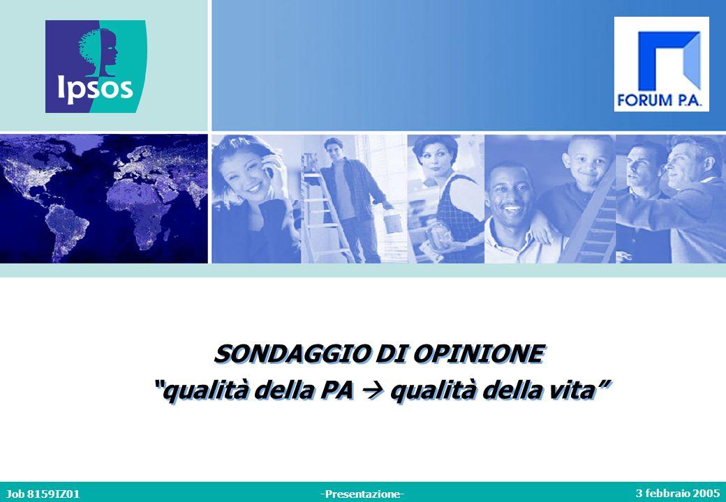 3 febbraio 2005 Job 8159IZ01-Presentazione- SONDAGGIO DI OPINIONE qualità della PA qualità della vita SONDAGGIO DI OPINIONE qualità della PA qualità della vita