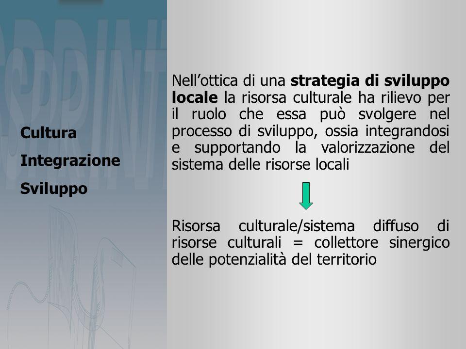 Nellottica di una strategia di sviluppo locale la risorsa culturale ha rilievo per il ruolo che essa può svolgere nel processo di sviluppo, ossia integrandosi e supportando la valorizzazione del sistema delle risorse locali Risorsa culturale/sistema diffuso di risorse culturali = collettore sinergico delle potenzialità del territorio Cultura Integrazione Sviluppo