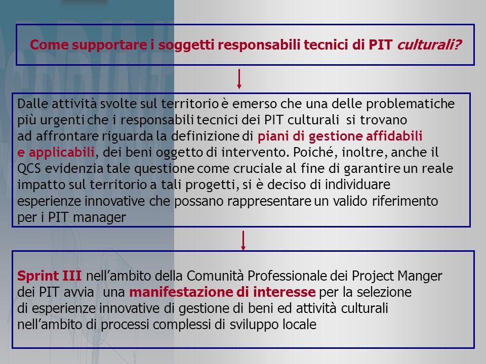 Come supportare i soggetti responsabili tecnici di PIT culturali.