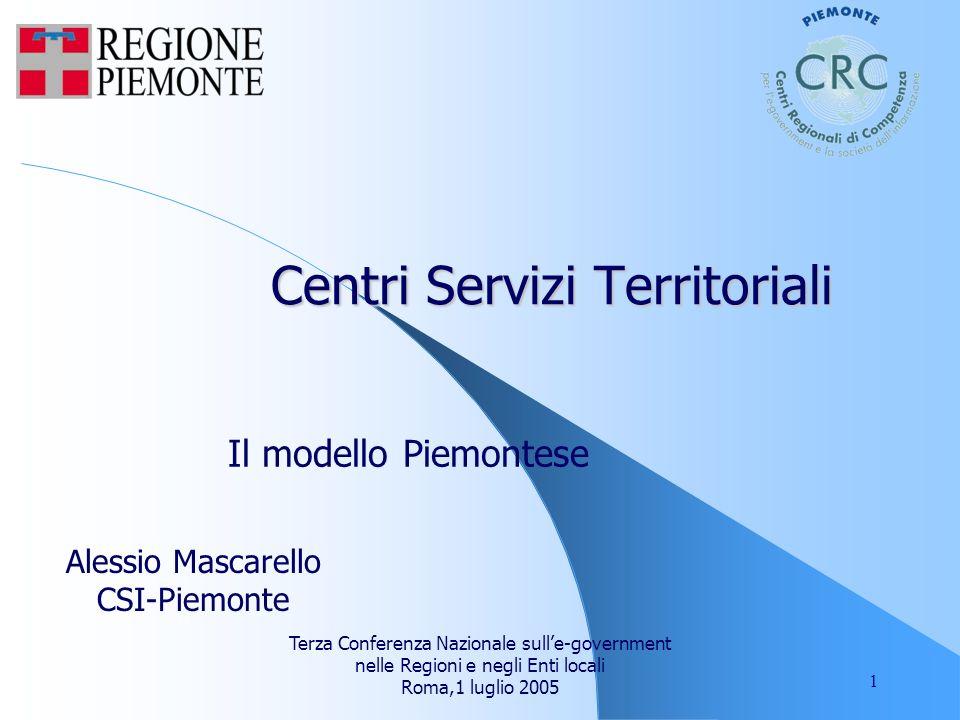 Terza Conferenza Nazionale sulle-government nelle Regioni e negli Enti locali Roma,1 luglio 2005 1 Centri Servizi Territoriali Il modello Piemontese Alessio Mascarello CSI-Piemonte