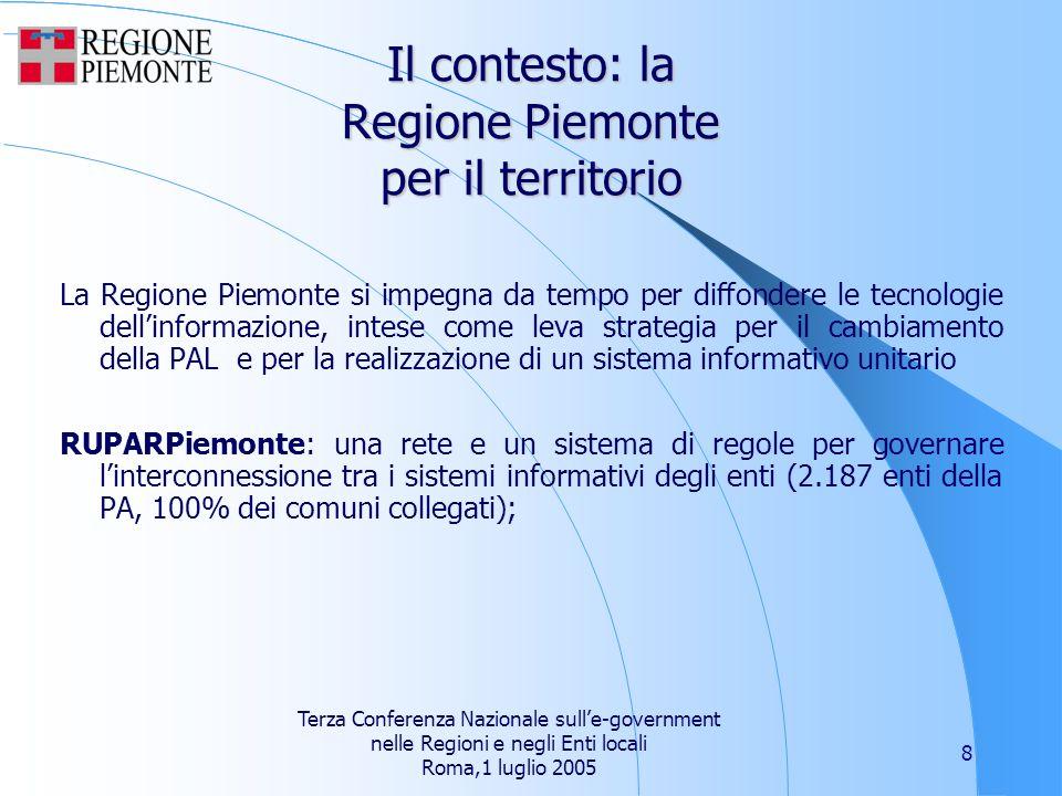 Terza Conferenza Nazionale sulle-government nelle Regioni e negli Enti locali Roma,1 luglio 2005 8 Il contesto: la Regione Piemonte per il territorio La Regione Piemonte si impegna da tempo per diffondere le tecnologie dellinformazione, intese come leva strategia per il cambiamento della PAL e per la realizzazione di un sistema informativo unitario RUPARPiemonte: una rete e un sistema di regole per governare linterconnessione tra i sistemi informativi degli enti (2.187 enti della PA, 100% dei comuni collegati);