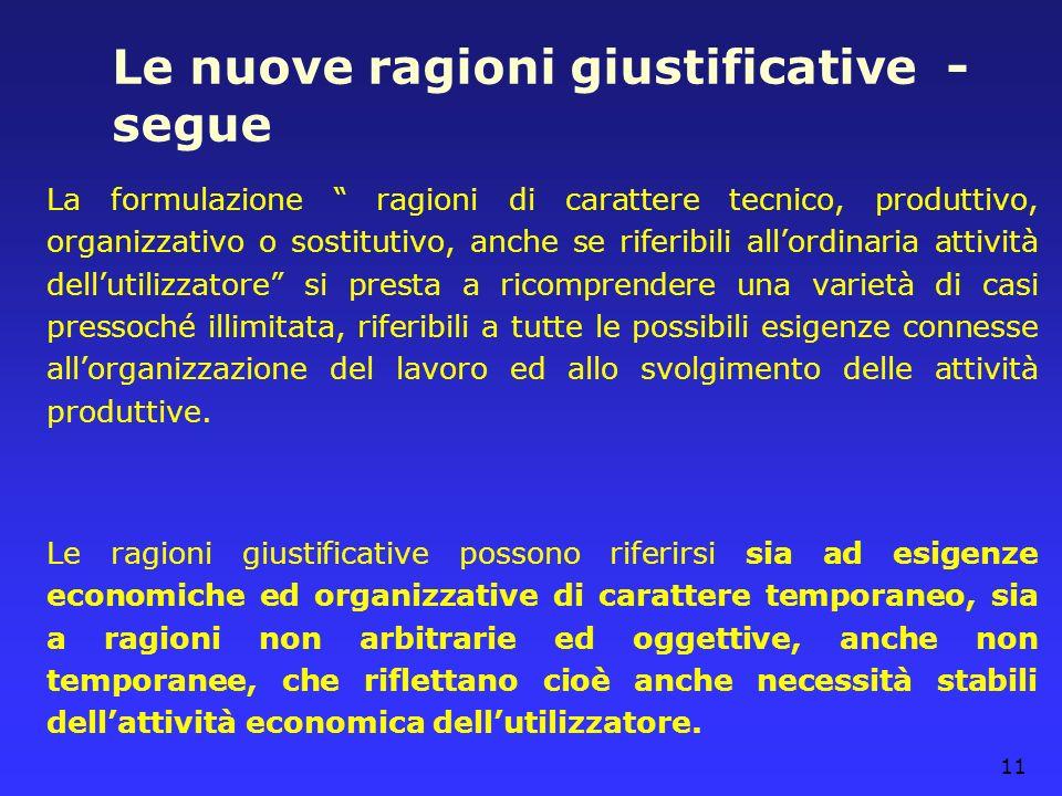 11 Le nuove ragioni giustificative - segue La formulazione ragioni di carattere tecnico, produttivo, organizzativo o sostitutivo, anche se riferibili