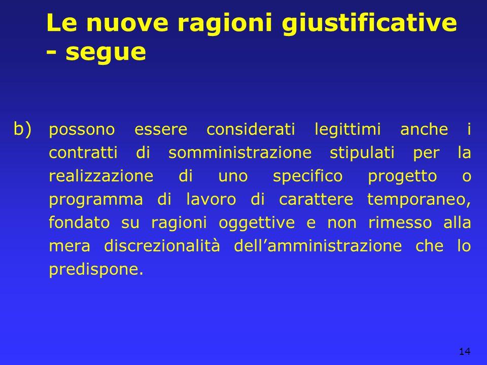 14 Le nuove ragioni giustificative - segue b) possono essere considerati legittimi anche i contratti di somministrazione stipulati per la realizzazion