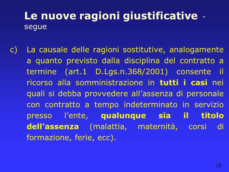 15 Le nuove ragioni giustificative - segue c)La causale delle ragioni sostitutive, analogamente a quanto previsto dalla disciplina del contratto a ter