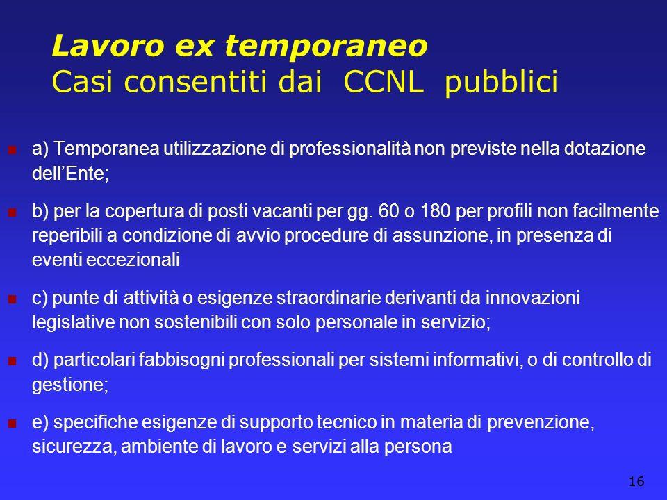 16 Lavoro ex temporaneo Casi consentiti dai CCNL pubblici a) Temporanea utilizzazione di professionalità non previste nella dotazione dellEnte; b) per