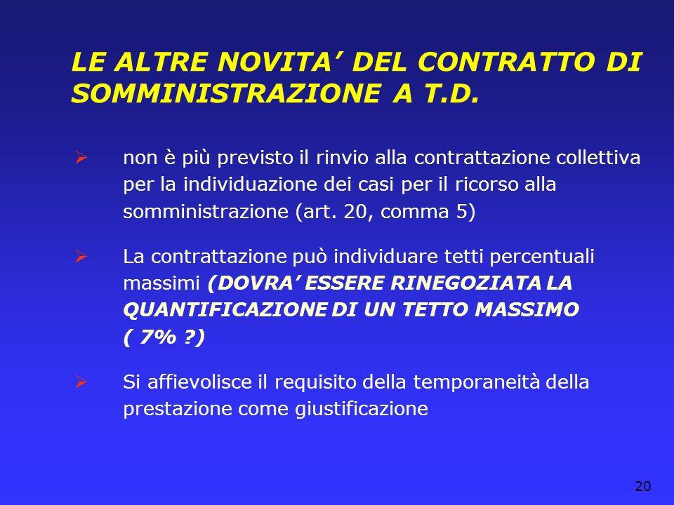 20 LE ALTRE NOVITA DEL CONTRATTO DI SOMMINISTRAZIONE A T.D. non è più previsto il rinvio alla contrattazione collettiva per la individuazione dei casi