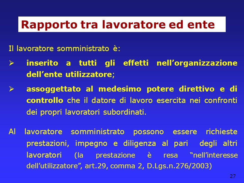 27 Rapporto tra lavoratore ed ente Il lavoratore somministrato è: inserito a tutti gli effetti nellorganizzazione dellente utilizzatore; assoggettato