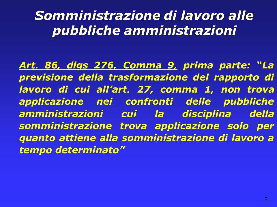 3 Somministrazione di lavoro alle pubbliche amministrazioni Art. 86, dlgs 276, Comma 9, prima parte: La previsione della trasformazione del rapporto d