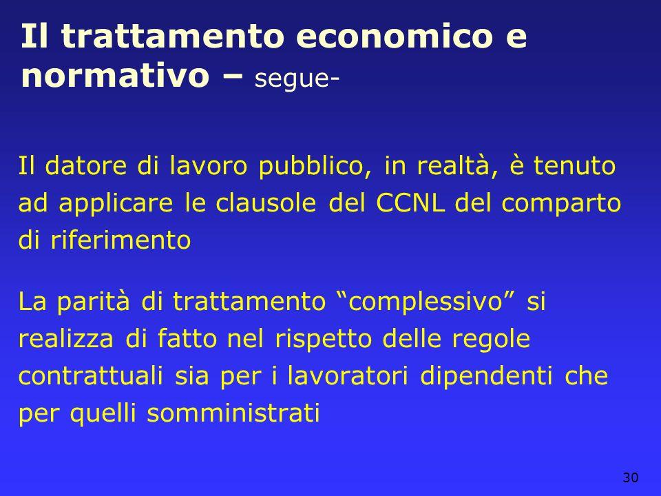 30 Il trattamento economico e normativo – segue- Il datore di lavoro pubblico, in realtà, è tenuto ad applicare le clausole del CCNL del comparto di r