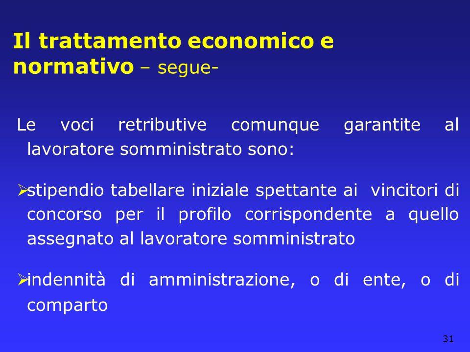 31 Il trattamento economico e normativo – segue- Le voci retributive comunque garantite al lavoratore somministrato sono: stipendio tabellare iniziale