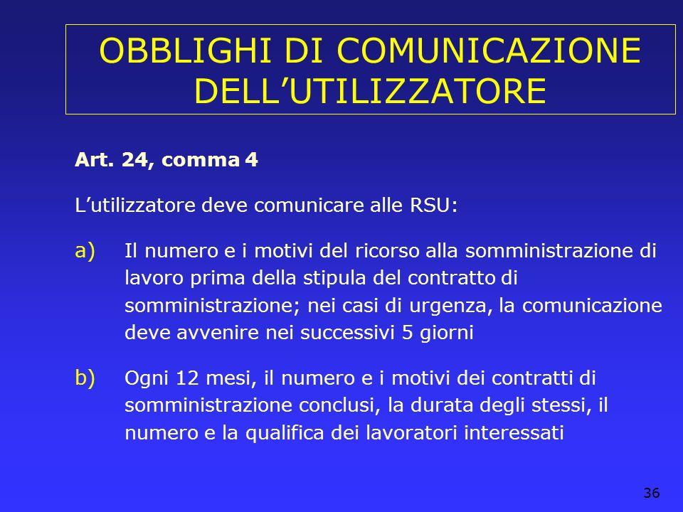 36 OBBLIGHI DI COMUNICAZIONE DELLUTILIZZATORE Art. 24, comma 4 Lutilizzatore deve comunicare alle RSU: a) Il numero e i motivi del ricorso alla sommin
