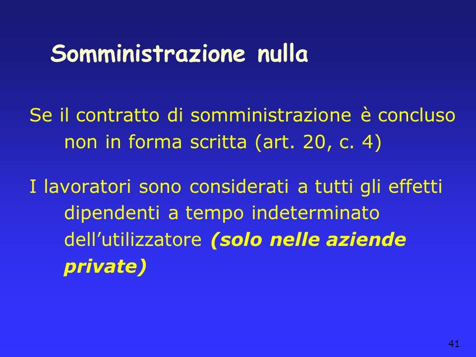 41 Somministrazione nulla Se il contratto di somministrazione è concluso non in forma scritta (art. 20, c. 4) I lavoratori sono considerati a tutti gl