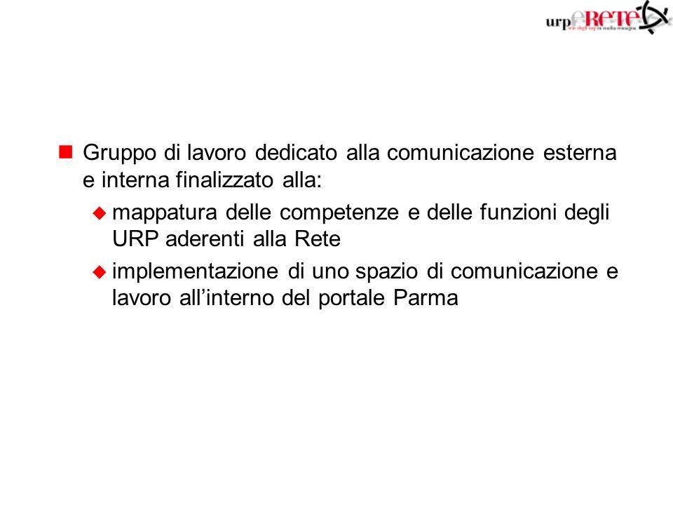 nGruppo di lavoro dedicato alla comunicazione esterna e interna finalizzato alla: u mappatura delle competenze e delle funzioni degli URP aderenti alla Rete u implementazione di uno spazio di comunicazione e lavoro allinterno del portale Parma