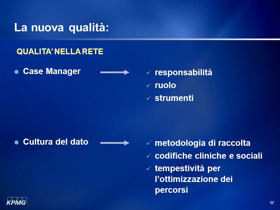 17 La nuova qualità: Case Manager responsabilità ruolo strumenti Cultura del dato metodologia di raccolta codifiche cliniche e sociali tempestività per lottimizzazione dei percorsi QUALITA NELLA RETE