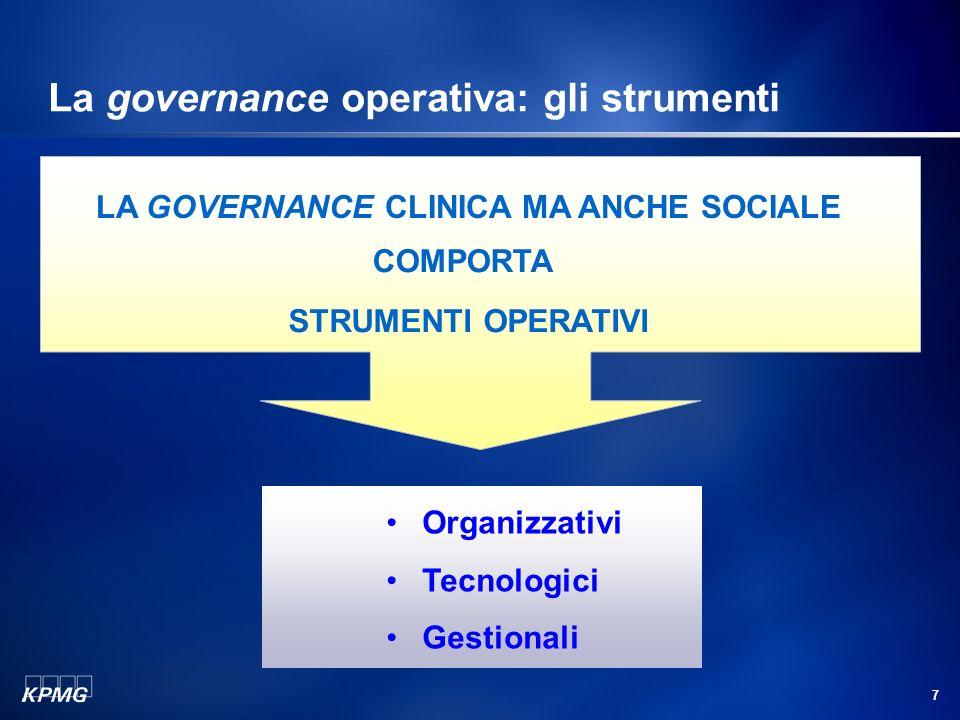 7 La governance operativa: gli strumenti LA GOVERNANCE CLINICA MA ANCHE SOCIALE STRUMENTI OPERATIVI COMPORTA Organizzativi Tecnologici Gestionali