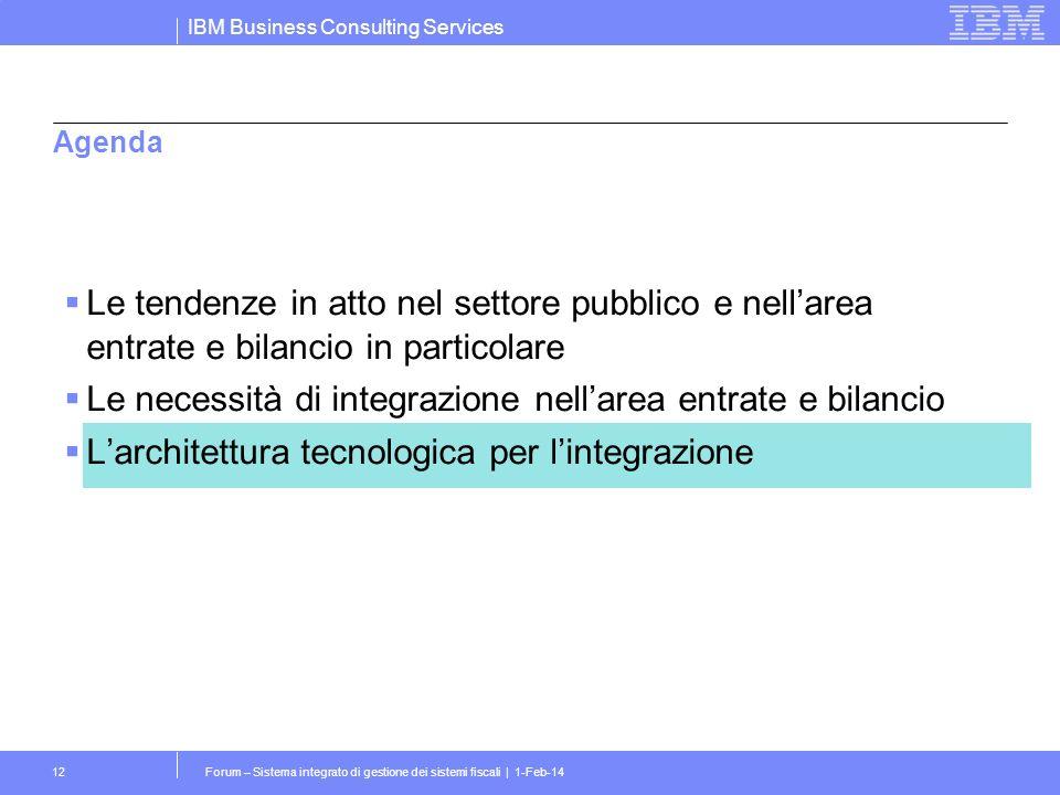 IBM Business Consulting Services Forum – Sistema integrato di gestione dei sistemi fiscali | 1-Feb-1412 Agenda Le tendenze in atto nel settore pubblico e nellarea entrate e bilancio in particolare Le necessità di integrazione nellarea entrate e bilancio Larchitettura tecnologica per lintegrazione