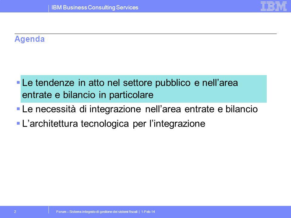 IBM Business Consulting Services Forum – Sistema integrato di gestione dei sistemi fiscali | 1-Feb-142 Agenda Le tendenze in atto nel settore pubblico