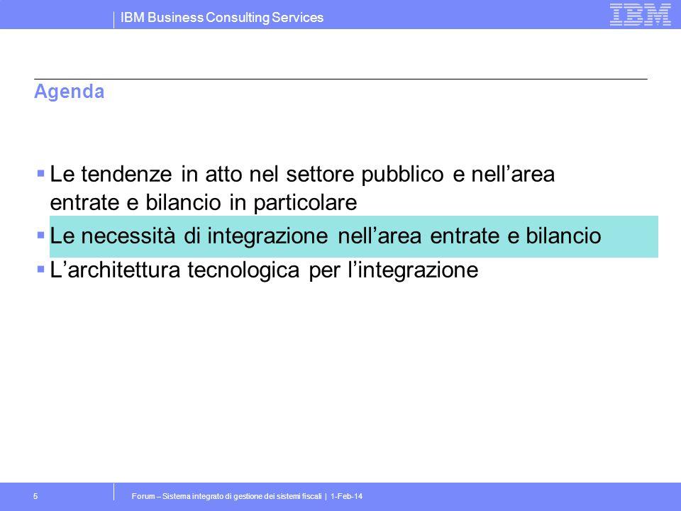 IBM Business Consulting Services Forum – Sistema integrato di gestione dei sistemi fiscali | 1-Feb-145 Agenda Le tendenze in atto nel settore pubblico