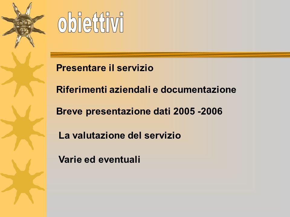 Presentare il servizio Breve presentazione dati 2005 -2006 Riferimenti aziendali e documentazione La valutazione del servizio Varie ed eventuali
