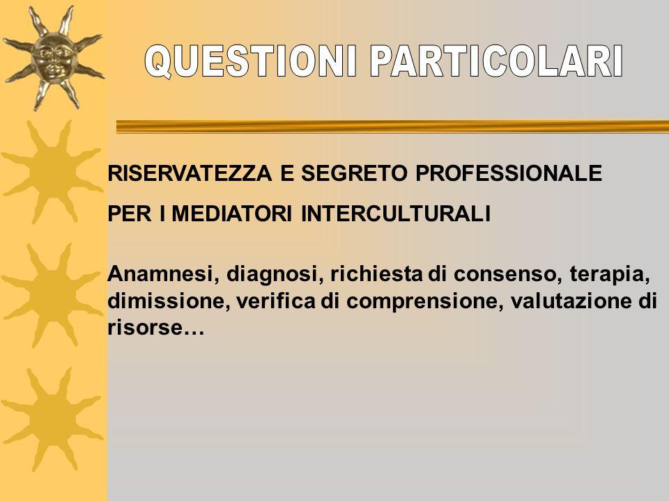 RISERVATEZZA E SEGRETO PROFESSIONALE PER I MEDIATORI INTERCULTURALI Anamnesi, diagnosi, richiesta di consenso, terapia, dimissione, verifica di compre