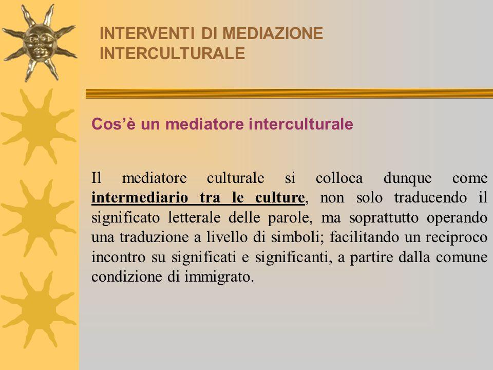 INTERVENTI DI MEDIAZIONE INTERCULTURALE Cosè un mediatore interculturale Il mediatore culturale si colloca dunque come intermediario tra le culture, n