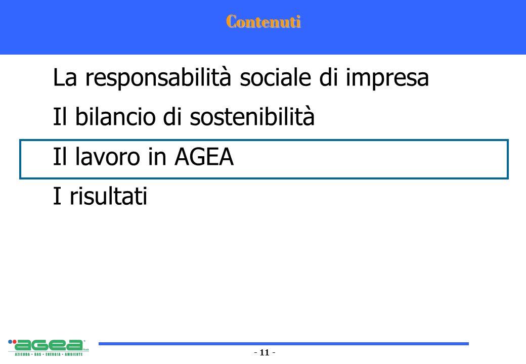 - 11 - Contenuti La responsabilità sociale di impresa Il bilancio di sostenibilità Il lavoro in AGEA I risultati