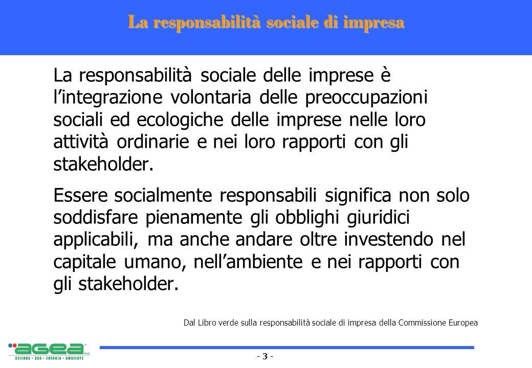 - 4 - La responsabilità sociale oggi I consumatori, i cittadini, gli investitori non chiedono alle aziende soltanto un buon rapporto prezzo-qualità Cominciano a considerare la responsabilità e lattenzione alla sostenibilità nelle loro scelte e valutazioni Sistemi di gestione Ambientali: ISO 14000, EMAS Sociali: SA8000, AA1000, QRes Strategie Missione, Visione, Valori Eco-efficienza Finanza Etica Community Marketing Cause related marketing (CRM) Azioni/Comportamenti Donazioni e sponsorship Gestione della diversità Formazione continua Cittadinanza dimpresa Coinvolgimento nella comunità Eco-management Partnership (LA21, New social Partnership, sviluppo dellimprenditoria, formazione..) Strumenti Codici Etici e Codici di condotta Accountability: Bilancio sociale, bilancio ambientale, bilancio di sostenibilità Stakeholder engagement Reporting Formazione CSR ai manager Argomenti trattati con il Bilancio di sostenibilità
