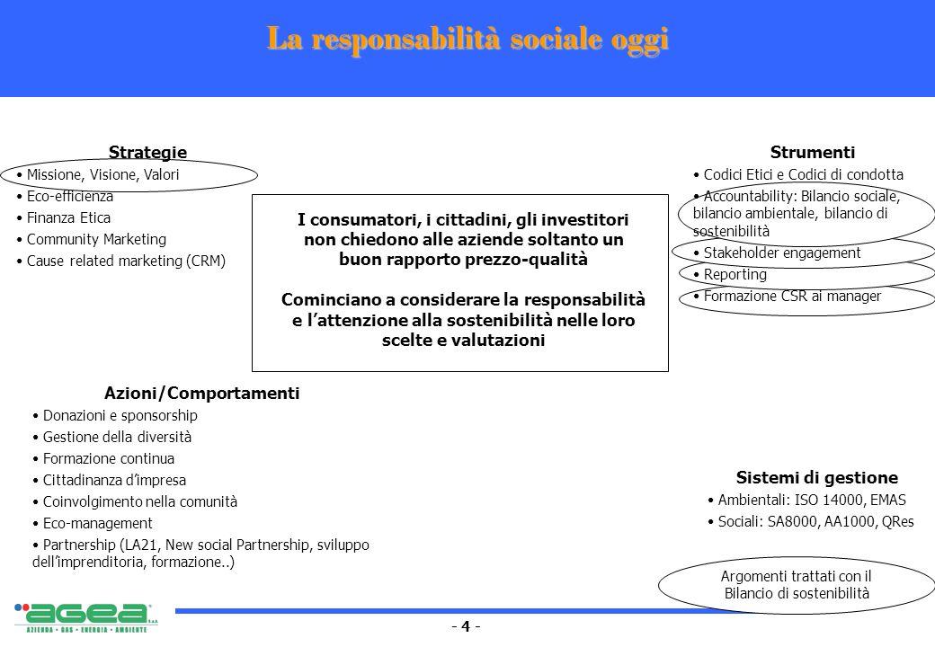 - 4 - La responsabilità sociale oggi I consumatori, i cittadini, gli investitori non chiedono alle aziende soltanto un buon rapporto prezzo-qualità Co