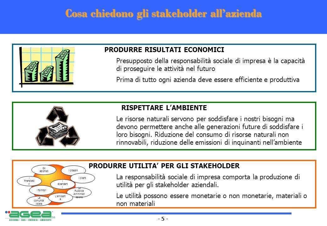 - 5 - Cosa chiedono gli stakeholder allazienda PRODURRE RISULTATI ECONOMICI Presupposto della responsabilità sociale di impresa è la capacità di prose
