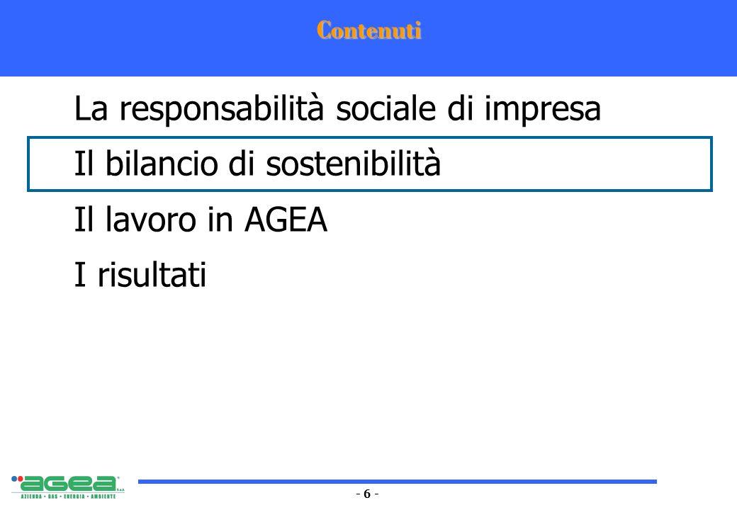 - 6 - Contenuti La responsabilità sociale di impresa Il bilancio di sostenibilità Il lavoro in AGEA I risultati