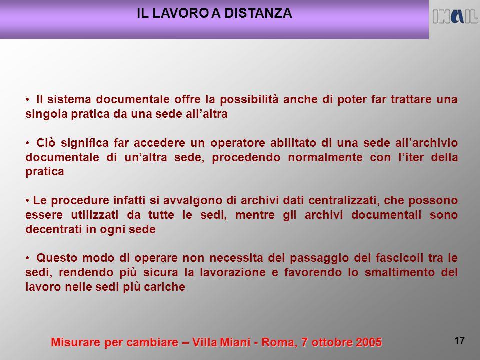 Misurare per cambiare – Villa Miani - Roma, 7 ottobre 2005 17 IL LAVORO A DISTANZA Il sistema documentale offre la possibilità anche di poter far trat
