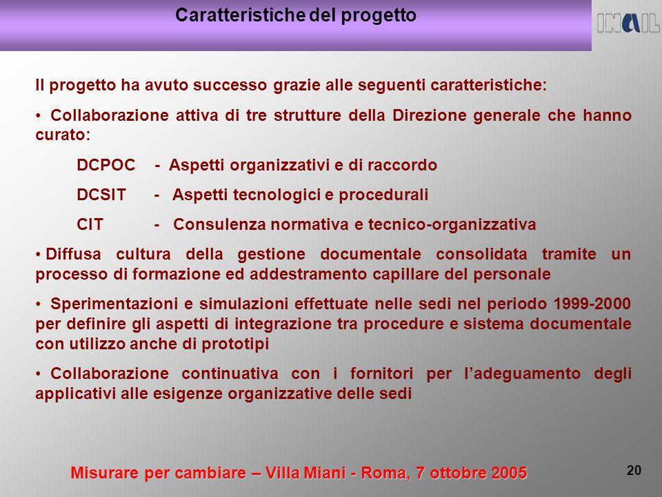 Misurare per cambiare – Villa Miani - Roma, 7 ottobre 2005 20 Caratteristiche del progetto Il progetto ha avuto successo grazie alle seguenti caratter