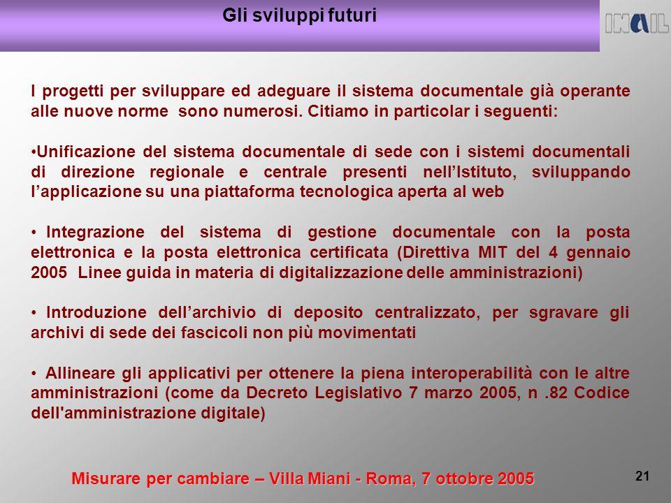 Misurare per cambiare – Villa Miani - Roma, 7 ottobre 2005 21 Gli sviluppi futuri I progetti per sviluppare ed adeguare il sistema documentale già operante alle nuove norme sono numerosi.
