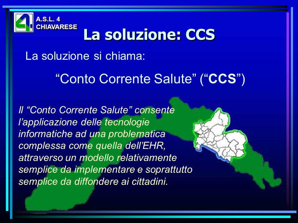 La soluzione si chiama: Conto Corrente Salute (CCS) La soluzione: CCS A.S.L. 4 CHIAVARESE A.S.L. 4 CHIAVARESE Il Conto Corrente Salute consente lappli