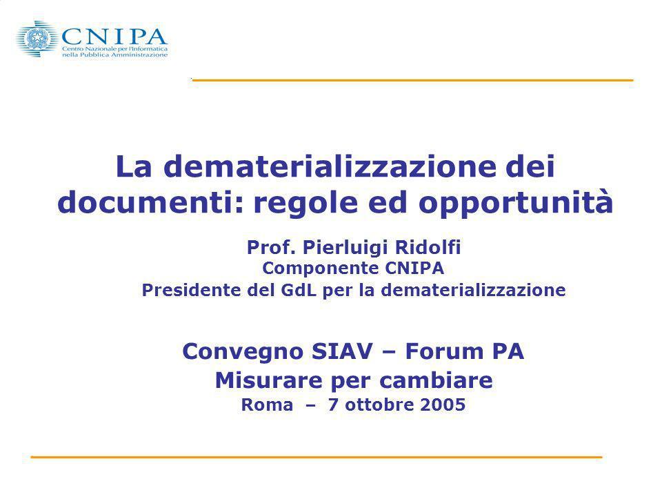 La dematerializzazione dei documenti: regole ed opportunità Prof. Pierluigi Ridolfi Componente CNIPA Presidente del GdL per la dematerializzazione Con