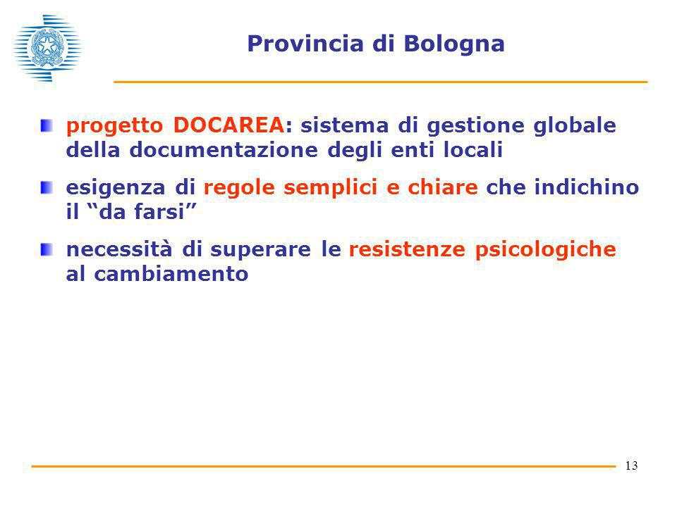 13 Provincia di Bologna progetto DOCAREA: sistema di gestione globale della documentazione degli enti locali esigenza di regole semplici e chiare che