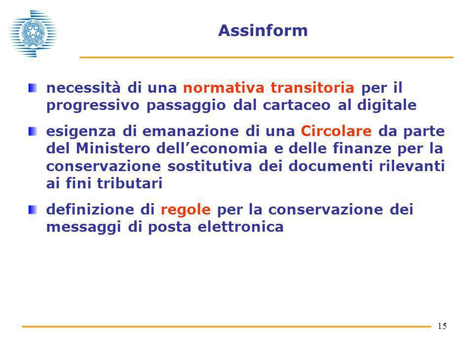 15 Assinform necessità di una normativa transitoria per il progressivo passaggio dal cartaceo al digitale esigenza di emanazione di una Circolare da p