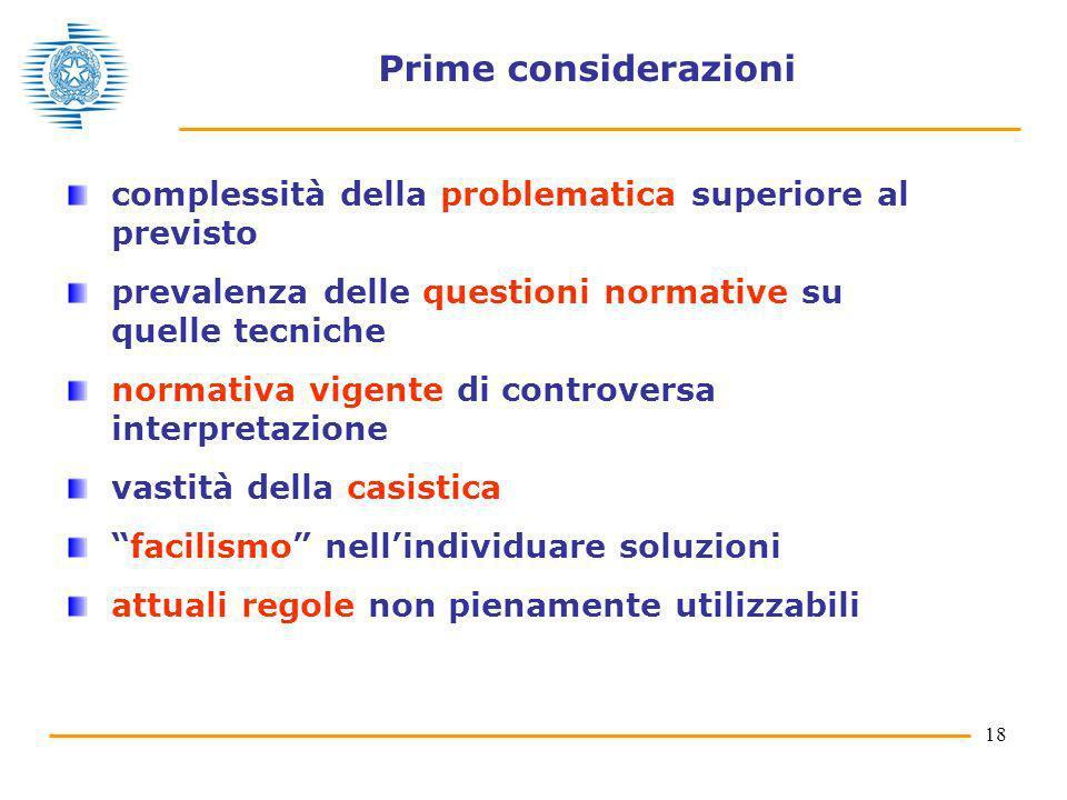 18 Prime considerazioni complessità della problematica superiore al previsto prevalenza delle questioni normative su quelle tecniche normativa vigente