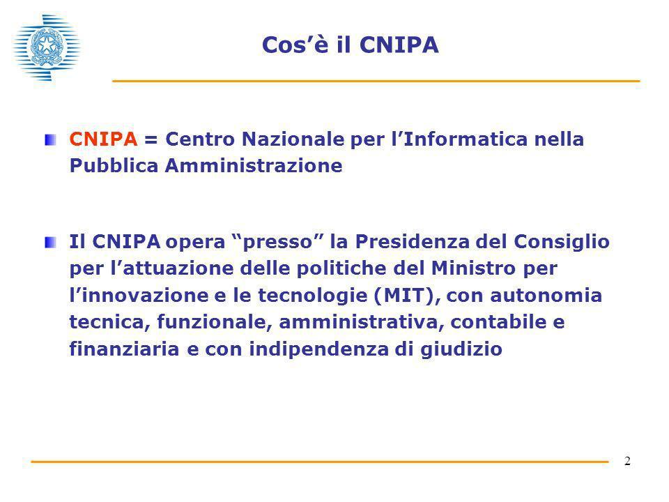 2 Cosè il CNIPA CNIPA = Centro Nazionale per lInformatica nella Pubblica Amministrazione Il CNIPA opera presso la Presidenza del Consiglio per lattuaz