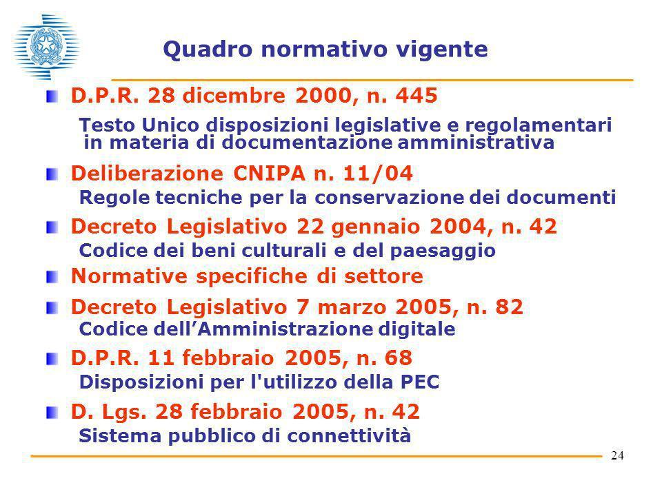24 Quadro normativo vigente D.P.R. 28 dicembre 2000, n. 445 Testo Unico disposizioni legislative e regolamentari in materia di documentazione amminist