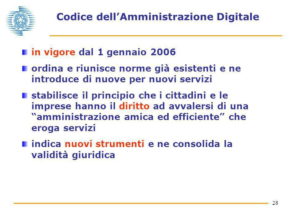 28 Codice dellAmministrazione Digitale in vigore dal 1 gennaio 2006 ordina e riunisce norme già esistenti e ne introduce di nuove per nuovi servizi st