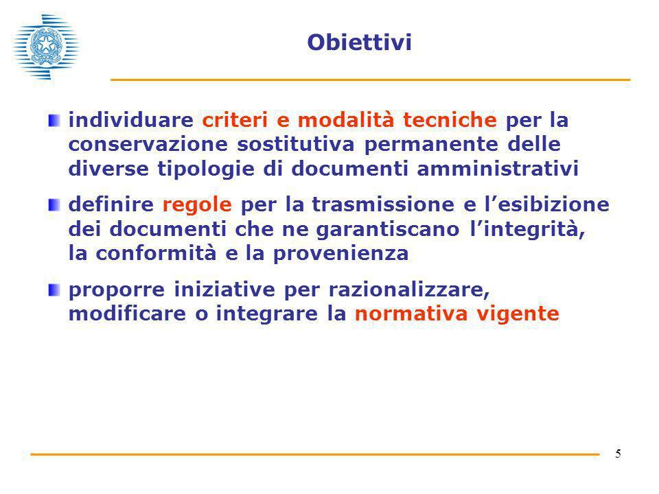 5 Obiettivi individuare criteri e modalità tecniche per la conservazione sostitutiva permanente delle diverse tipologie di documenti amministrativi de