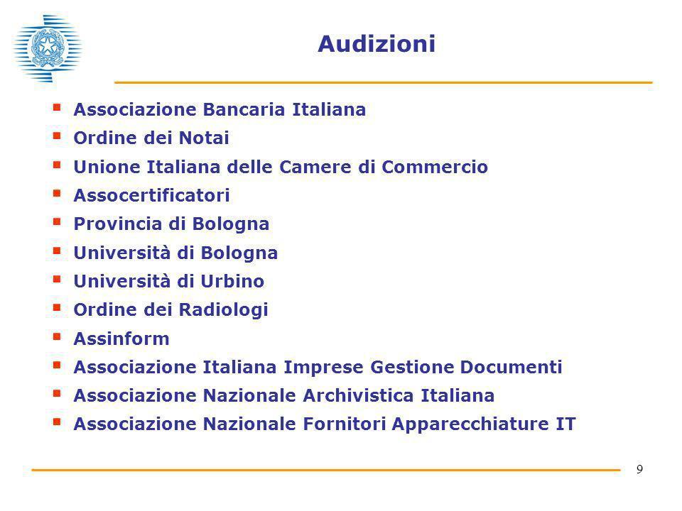 9 Audizioni Associazione Bancaria Italiana Ordine dei Notai Unione Italiana delle Camere di Commercio Assocertificatori Provincia di Bologna Universit