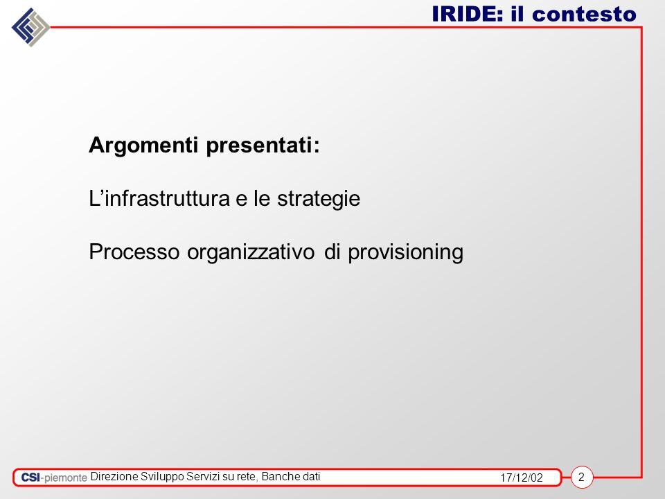 17/12/02 2 Direzione Sviluppo Servizi su rete, Banche dati IRIDE: il contesto Argomenti presentati: Linfrastruttura e le strategie Processo organizzativo di provisioning
