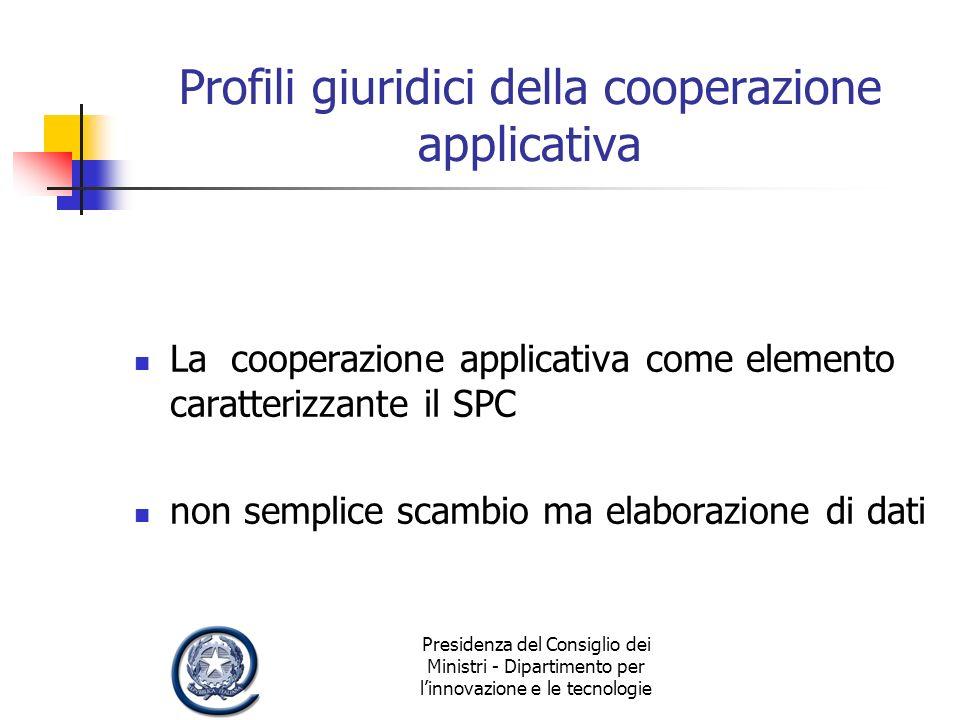 Presidenza del Consiglio dei Ministri - Dipartimento per linnovazione e le tecnologie Profili giuridici della cooperazione applicativa La cooperazione applicativa come elemento caratterizzante il SPC non semplice scambio ma elaborazione di dati