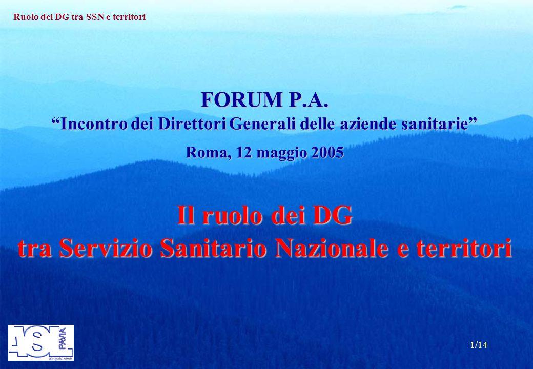 Ruolo dei DG tra SSN e territori 1/14 FORUM P.A.