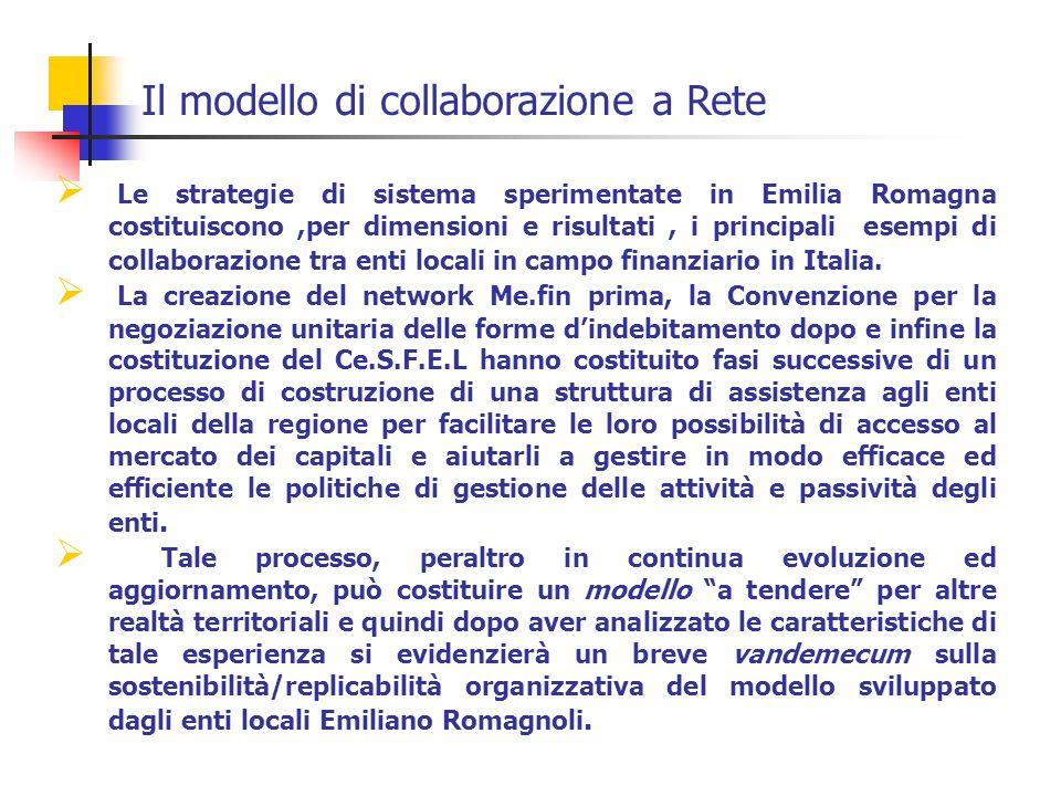 Le strategie di sistema sperimentate in Emilia Romagna costituiscono,per dimensioni e risultati, i principali esempi di collaborazione tra enti locali in campo finanziario in Italia.