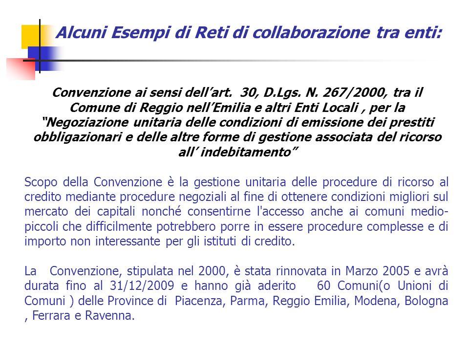 Convenzione ai sensi dellart. 30, D.Lgs. N. 267/2000, tra il Comune di Reggio nellEmilia e altri Enti Locali, per la Negoziazione unitaria delle condi